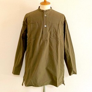 Horse Cloth Band Collar Square Long Shirts Olive