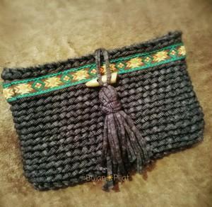 手編み オルテガバッグ 2wayバッグ ズパゲッティ オルテガ柄チロリアン クラッチバッグ タッセル トグル
