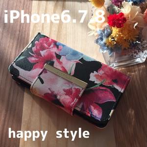 水彩花柄 iPhone6.7.8共通手帳型ケース✨iPhone8