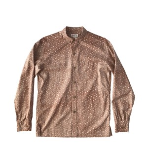 Mountain Men's ボタンダウン長袖アロハシャツ / Small flower Brown
