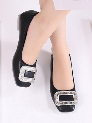 【shoes】Korean version of the buckle diamond flat shoes