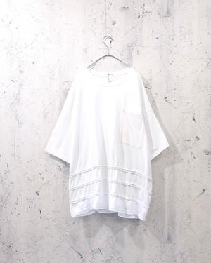 braid switching T-shirt  (White)
