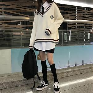 【セットアップ】韓国版合わせやすいVネックセーター+簡約ホワイトシャツ+ネクタイ 3点セット