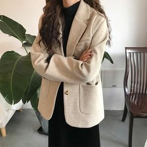 ゆったり  おしゃれ   韓国ファッション   折り襟 POLOネック  長袖  無地  厚手  スーツ・アウター