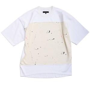 "QUOLT / クオルト | "" PAINT CUTSEW "" - White / スプラッシュプリント切替ワイドTシャツ"