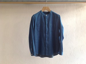 "Women's niuhans""Band Collar Selrege Denim L/S Shirt Light Indigo"""