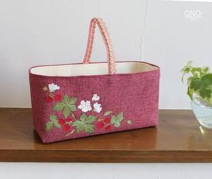 prune et cerisier* コラージュ小物入れ 横長<-濃ピンク・フランボワーズ->