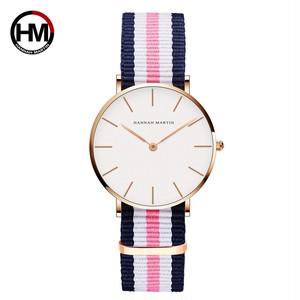 クラシックローズレッドダークブルーナイロンストラップジャパンクォーツムーブメントファッションカジュアル腕時計生地薄いキャンバス腕時計女性用CB36-F2