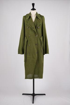 【kota gushiken】Knitted washi trench coat - dark green