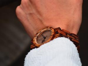 木製(ゼブラウッド)腕時計*細身ベルト