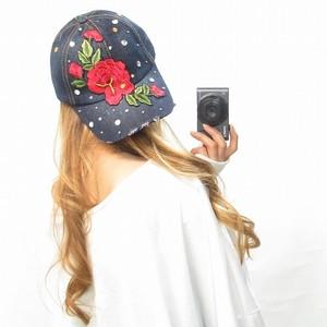 ローズ刺繍×ストーン/デニムCAP/キャップ/帽子