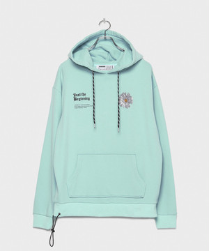 BLOOM Embroidery Hoodie [Turquoise  Blue]
