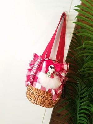 mimi☆フリル巾着バッグ☆赤ギンガムチェック