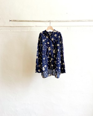 【Lim home】Flap shirt navy flower