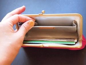 【オールレザー】 トライアングル オールレザーロングウォレット/がまぐち長財布 ブラック×ピンク
