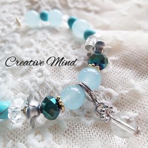 天然石Blueカラーブレス◆カルセドニー×ターコイズ×水晶