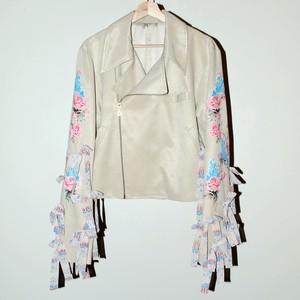『WU JIU PLEASE』 rose sleeve biker jacket