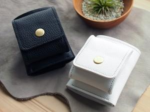 コンパクト財布【ホワイト or ブラック】white black 小型ウォレット シュリンクレザー