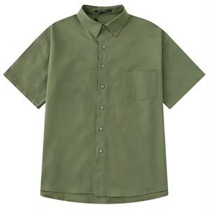 送料込みユニセックスシンプルくすみ緑オーバーサイズシャツ
