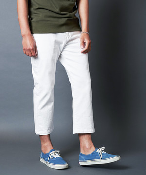 WASHED STRETCH CROPPED DENIM NO-P PANTS
