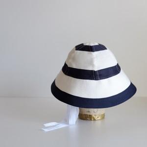 セーラーハット ボーダー リネン 【 白 に 紺 】 マリン / sailor hat linen stripe