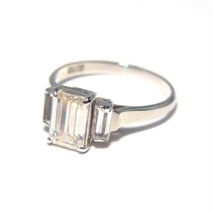 Vintage Japanese Ring - K14WG Clear Stone #13.5