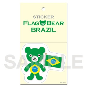 FLAG BEAR STICKER <BRAZIL> ブラジル (大(L))