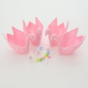 ベビーシャワー用小物 スワン(ピンク)&哺乳瓶セット