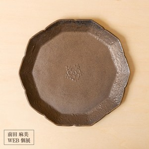 48[前田 麻美 個展]ブロンズ釉 花七宝 プレート皿(M)