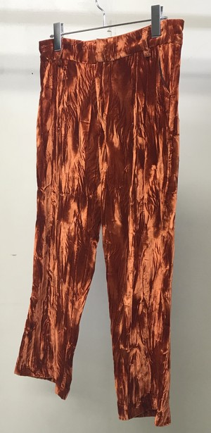 COLLINA STRADA CRUSHED VELVET TROUSERS ORANGE