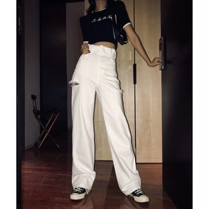 side cut white pants