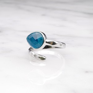 SINGLE STONE OPEN RING SILVER 014