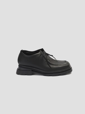 VEIN COW LEATHER TYROLEAN SHOES Black   VA12-350