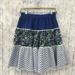 triple tiered skirt〈blue× yellow〉