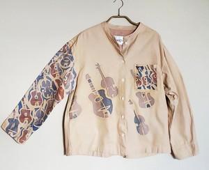 womens スタンドカラーフランネルシャツ ジプシージャズ柄モカ色 SHI-0021