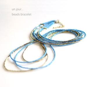 シードビーズ×真鍮 ネックレス ブルー 58010013-01