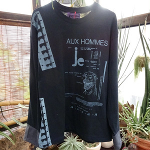 [ LONG  T-SHIRT ] HE?XION! TAPES  / AUX HOMMES ロングTシャツ ( BK )