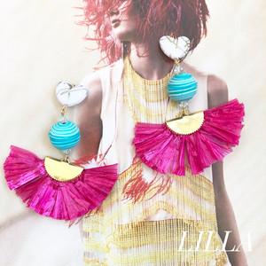 heart × turquoise × pink fringe
