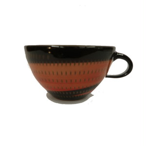 小石原焼 手付きスープカップ 赤 トビ 鶴見窯