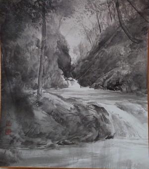 水墨画 色紙「 水の輝き」water shine