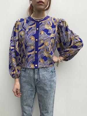 Diane freis blue jewelry print jacket ( ダイアン フレイス ブルー ジュエリー 柄 ジャケット