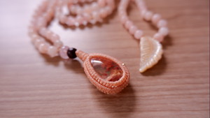 Japamala : Garden Quartz + Pink Morganite