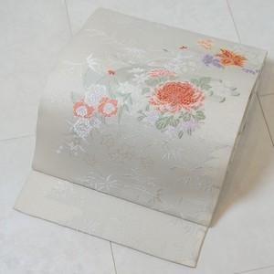 西陣織【夏帯】未使用 袋帯 牡丹 絹 銀糸 アイボリー 白 268