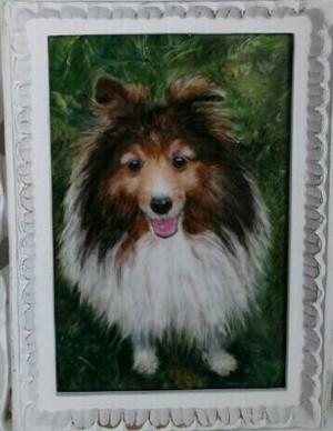 絵と額は一例です。オーダー猫・犬の絵の陶板