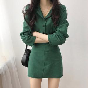 【セットアップ】簡約chic無地長袖シャツ/着痩せスカート2点セット22714314