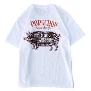 PORK BACK TEE/WHITE×DARK BROWN
