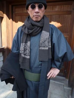 男性用の大島紬着物☆アンサンブル★富士山羽織セット