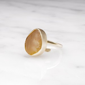 ROUGH BIG STONE RING GOLD 006