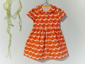 鳥さんワンピース100cm・オレンジ色