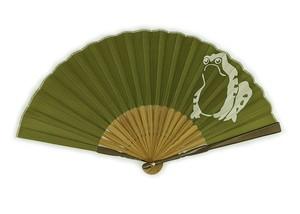扇子 袋付き メンズ扇子 縁起のいい扇子 かえる 男持苔緑
